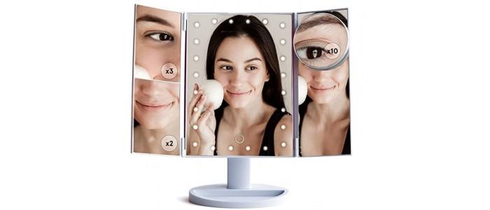 Espejo de Maquillaje con Luz Led 3 Aumentos